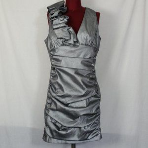 Jessica McClintock Silver Ruched Cocktail Dress 14